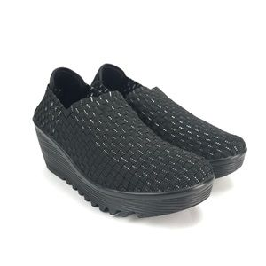 Corkys Womens Tent Black Silver Casual Wedge Shoes
